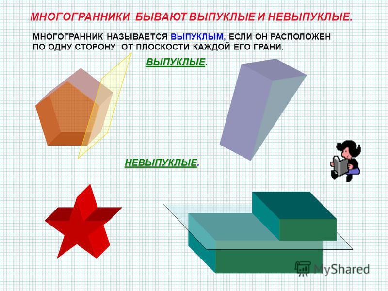 ОПРЕДЕЛЕНИЕ.Поверхность, составленную из многоугольников и ограничивающую некоторое геометрическое тело, называется многогранной поверхностью или многогранником. ГРАНИ- ЭТО МНОГОУГОЛЬНИКИ, ИЗ КОТОРЫХ СОСТАВЛЕН МНОГОГРАННИК. РЁБРА – ЭТО СТОРОНЫ ГРАНЕЙ