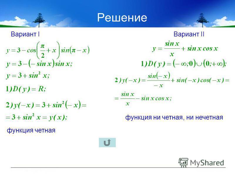 Решение Вариант IВариант II функция четная функция ни четная, ни нечетная