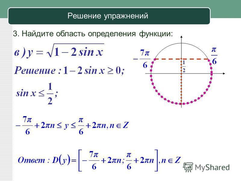 Решение упражнений 3. Найдите область определения функции: