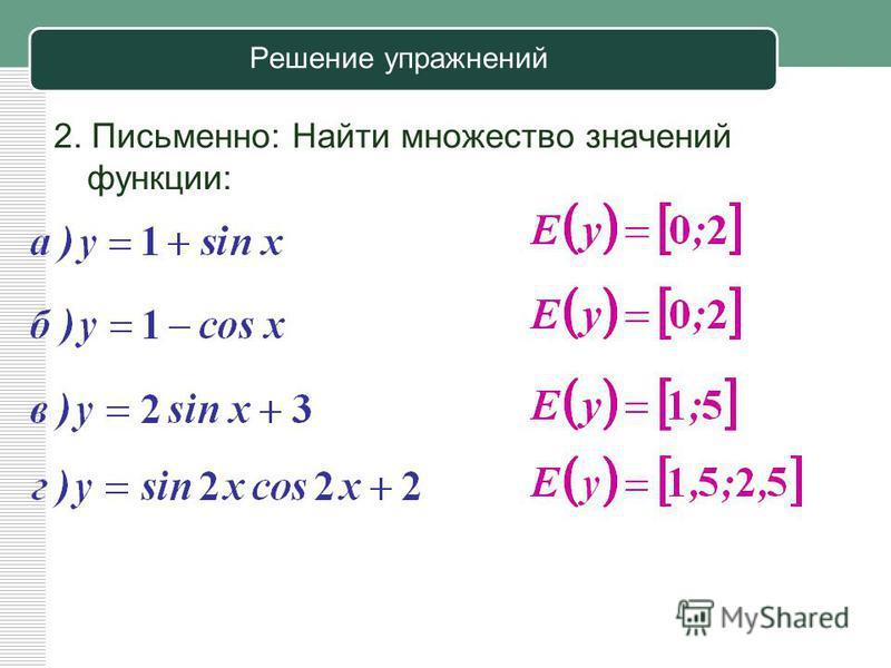 Решение упражнений 2. Письменно: Найти множество значений функции:
