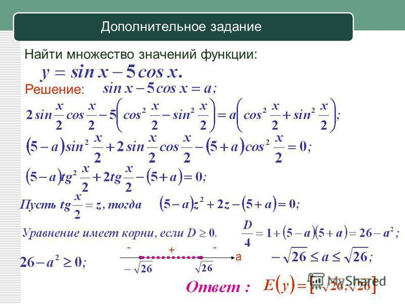 Дополнительное задание Найти множество значений функции: Решение: а -- +