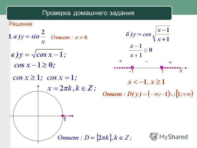 Проверка домашнего задания Решение 1 1 х + + -