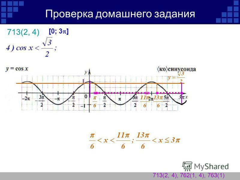 Проверка домашнего задания 713(2, 4) 713(2, 4), 762(1, 4), 763(1) 0 [0; 3 ]