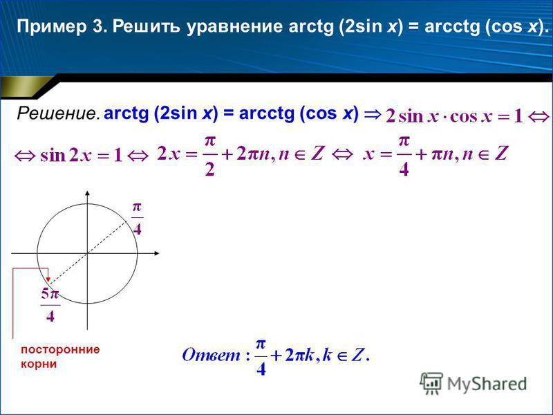 Пример 3. Решение. Решить уравнение arctg (2sin x) = arcctg (cos x). arctg (2sin x) = arcctg (cos x) посторонние корни