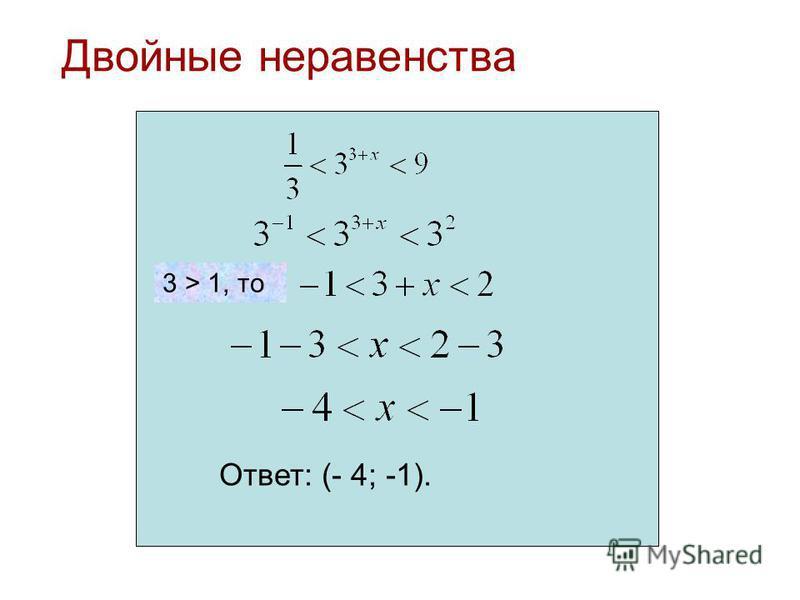 Двойные неравенства Ответ: (- 4; -1). 3 > 1, то