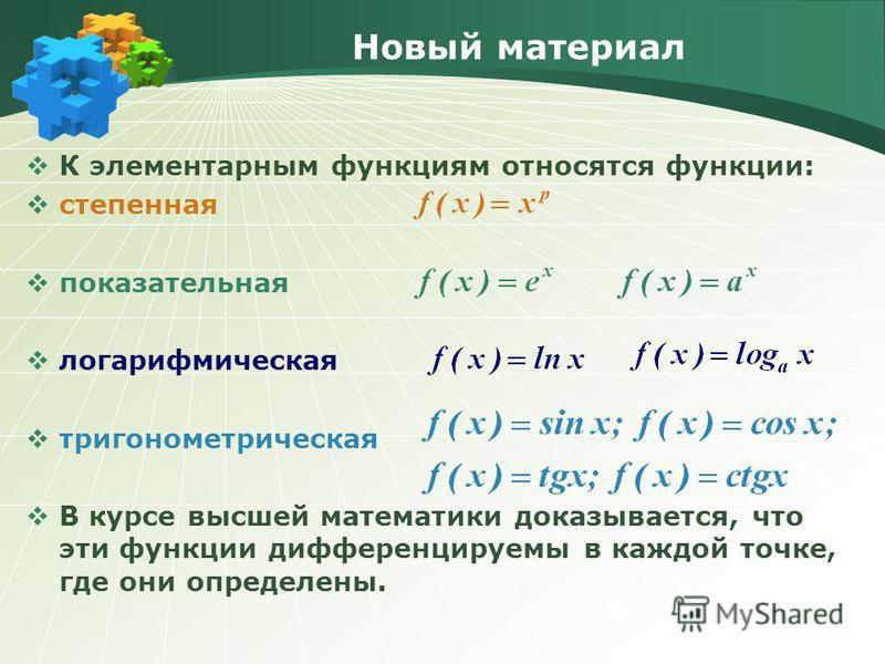 Новый материал К элементарным функциям относятся функции: степенная показательная логарифмическая тригонометрическая В курсе высшей математики доказывается, что эти функции дифференцируемы в каждой точке, где они определены.