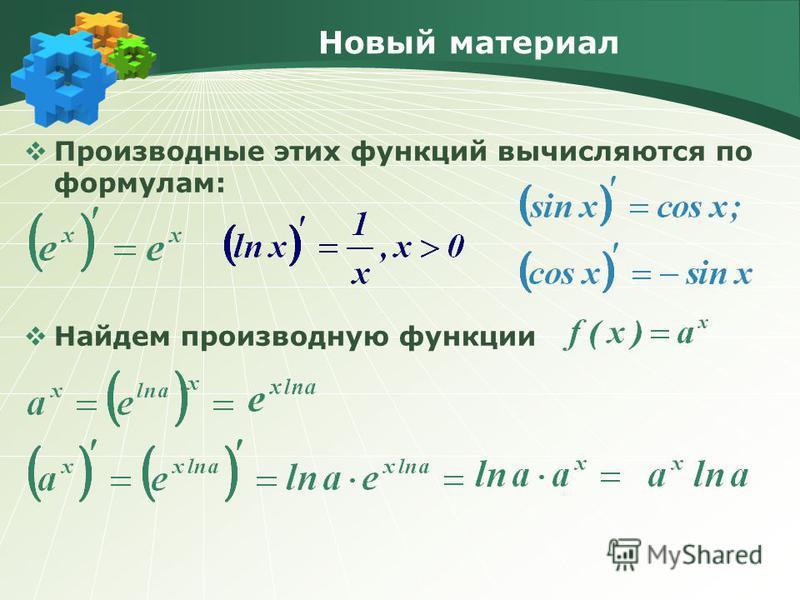 Новый материал Производные этих функций вычисляются по формулам: Найдем производную функции