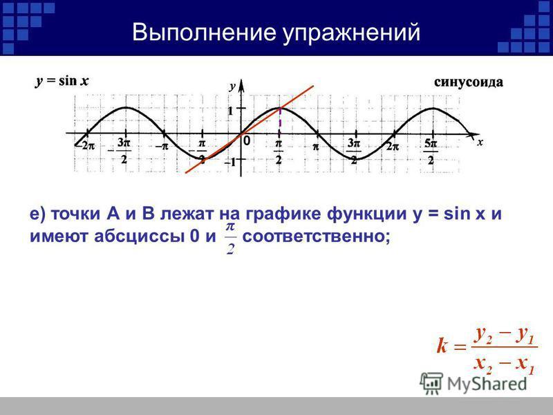 0 Выполнение упражнений е) точки А и В лежат на графике функции y = sin x и имеют абсциссы 0 и соответственно;