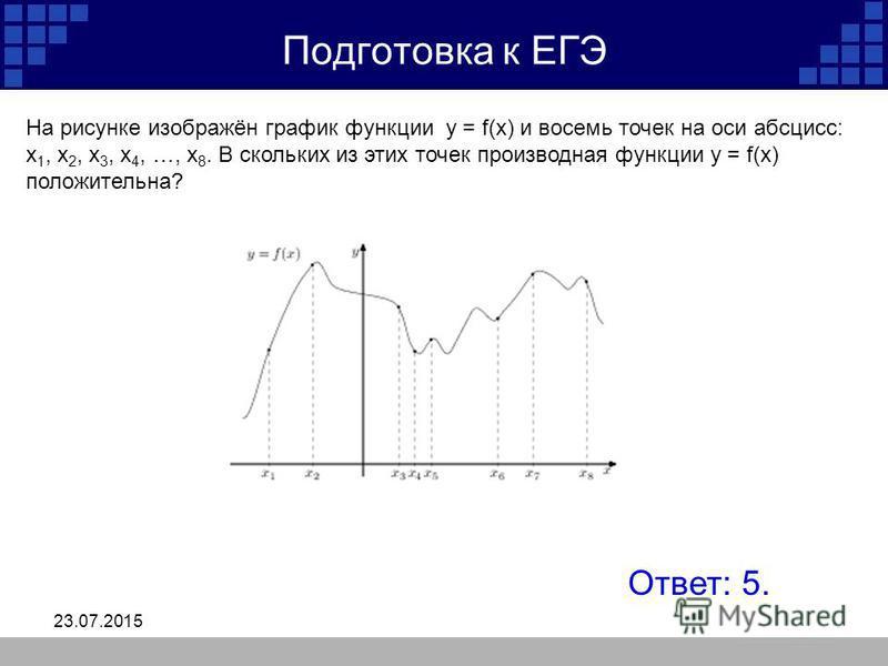 23.07.2015 Подготовка к ЕГЭ На рисунке изображён график функции y = f(x) и восемь точек на оси абсцисс: x 1, x 2, x 3, x 4, …, x 8. В скольких из этих точек производная функции y = f(x) положительна? Ответ: 5.