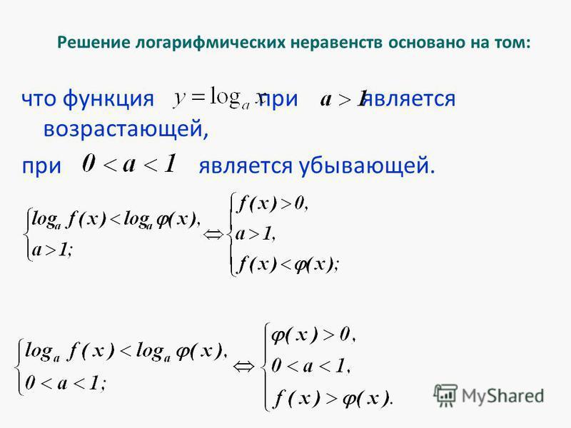 Решение логарифмических неравенств основано на том: что функция при является возрастающей, при является убывающей.