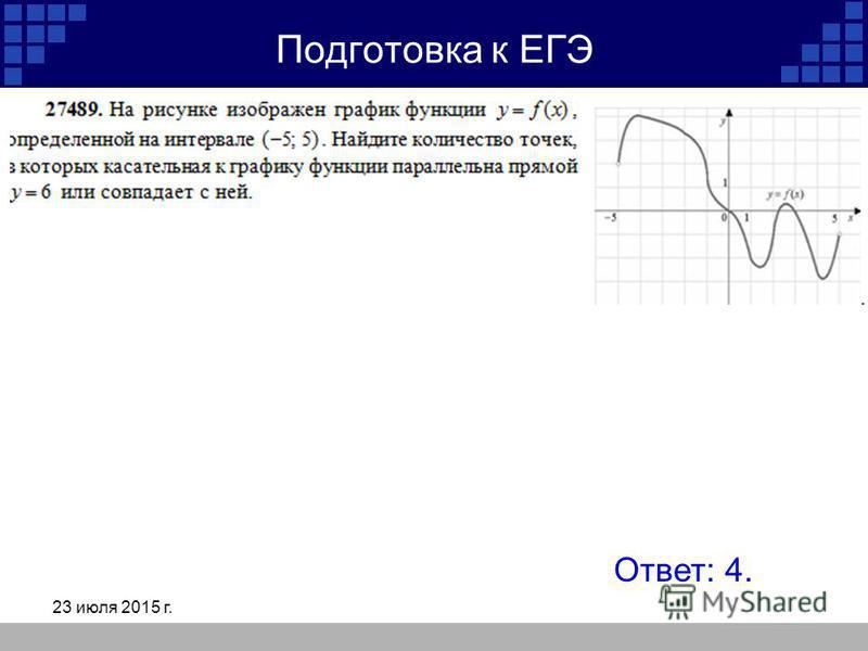 23 июля 2015 г. Подготовка к ЕГЭ Ответ: 4.
