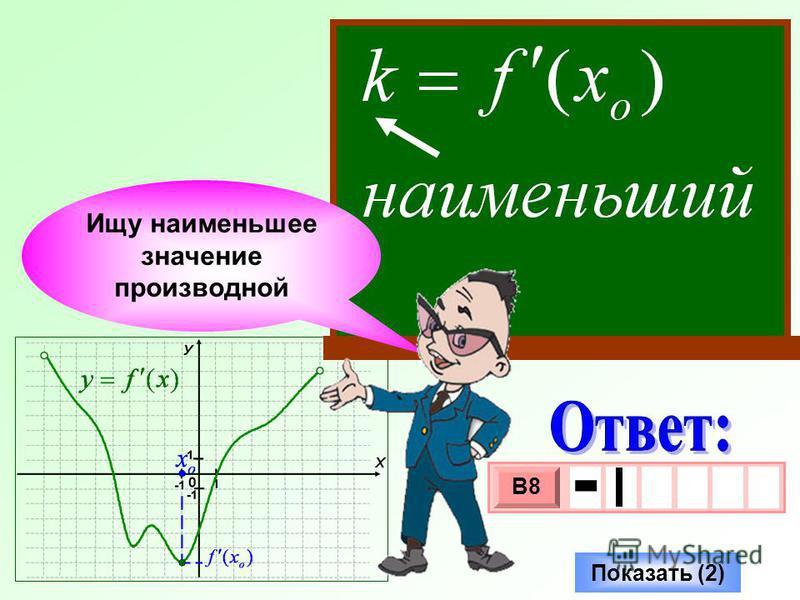 Ищу наименьшее значение производной Показать (2) 3 х 1 0 х В8 -