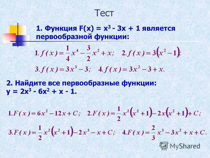 Тест 1. Функция F(x) = x 3 - 3x + 1 является первообразной функции: 2. Найдите все первообразные функции: y = 2x 3 - 6x 2 + x - 1.
