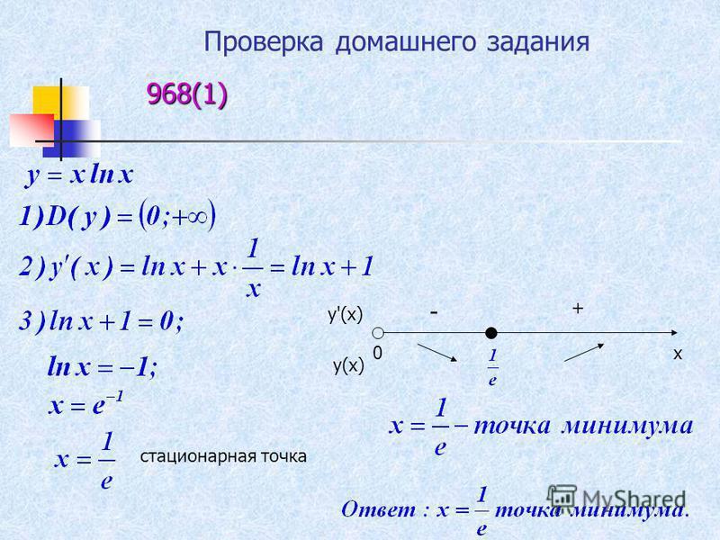 968(1) стационарная точка х 0 у'(х) у(х) + -