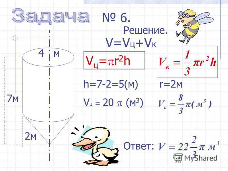 h=7-2=5(м) V ц = 20 (м 3 ) 4 м 2 м 6. Решение. V ц = r 2 h Ответ: V=V ц +V к 7 м r=2 м