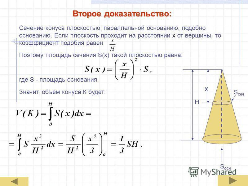 Второе доказательство: Сечение конуса плоскостью, параллельной основанию, подобно основанию. Если плоскость проходит на расстоянии х от вершины, то коэффициент подобия равен Поэтому площадь сечения S(x) такой плоскостью равна: где S - площадь основан
