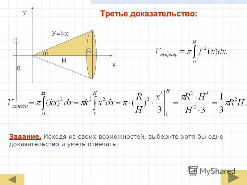 Третье доказательство: 0 x y H α R У=kx Задание. Исходя из своих возможностей, выберите хотя бы одно доказательство и уметь отвечать.