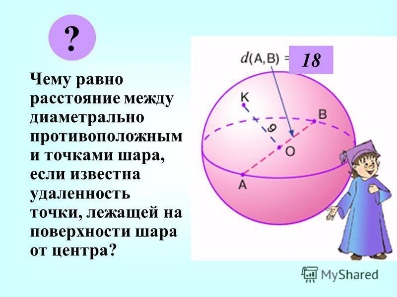 Ч ему равно расстояние между диаметрально противоположным и точками шара, если известна удаленность точки, лежащей на поверхности шара от центра? ? 18