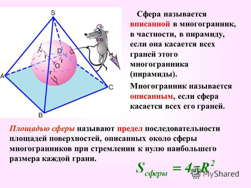 Сфера называется вписанной в многогранник, в частности, в пирамиду, если она касается всех граней этого многогранника (пирамиды). Многогранник называется описанным, если сфера касается всех его граней. Площадью сферы называют предел последовательност