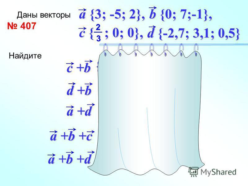 a {3;-5;2} b {0;7;-1} a +b {3;2;1} a {3;-5; 2} c { ;0; 0} 23 c +a { 3 ;-5;2} 23 + + 407 Даны векторы d {-2,7; 3,1; 0,5} a {3; -5; 2}, b {0; 7;-1}, c { ; 0; 0}, 23 Найдите c +b d +b a +d a +b +c a +b +d {-2,7; 10,1; -0,5} {0,3; -1,9; 2,5} {3 ; 2; 1} 2
