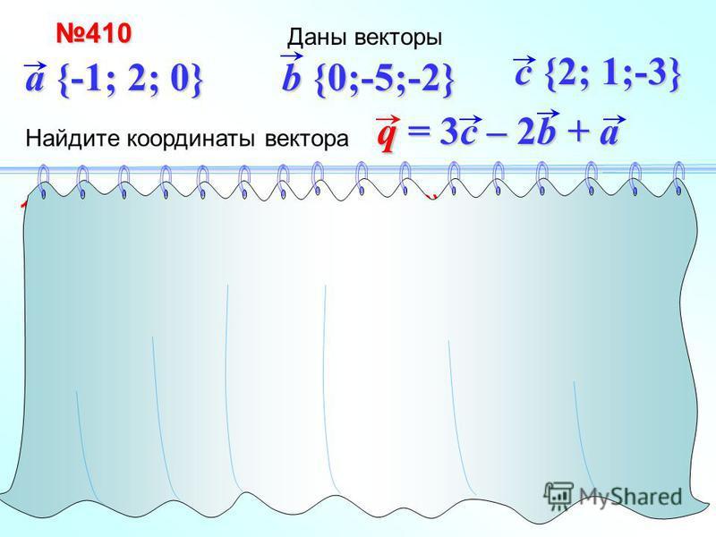 + Даны векторы(-2) 3 410410 a {-1; 2; 0} b {0;-5;-2} Найдите координаты вектора c {2; 1;-3} q = 3c – 2b + a 1) 3c {6; 3;-9} 2) 3) 3c – 2b + a q{5;15;-5} c {2; 1;-3} b {0;-5;-2} 2b {0;10; 4} 3c {6; 3;-9} a {-1; 2; 0}