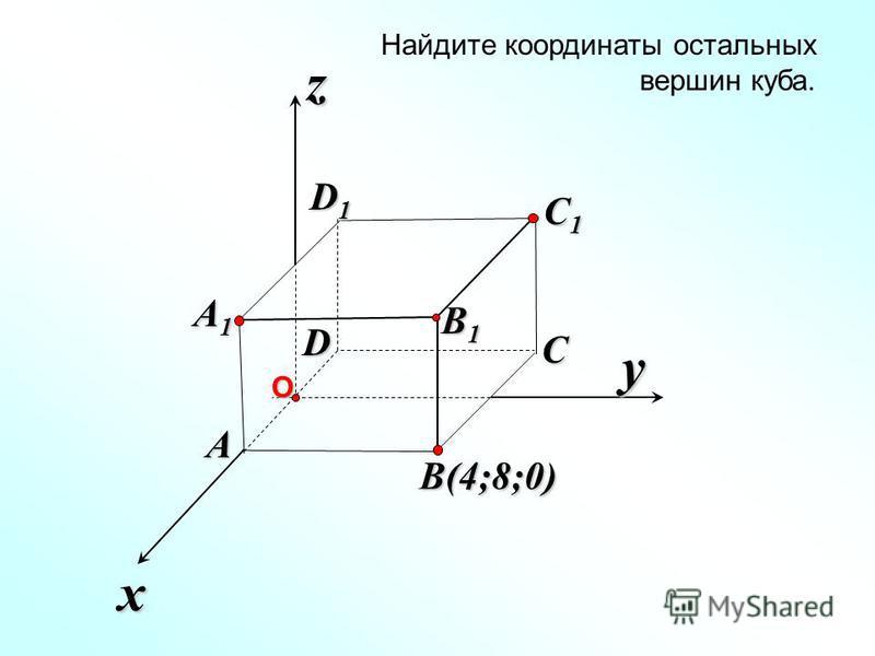 x z Найдите координаты остальных вершин куба. y B(4;8;0) C C1C1C1C1 B1B1B1B1 A1A1A1A1 A D D1D1D1D1О