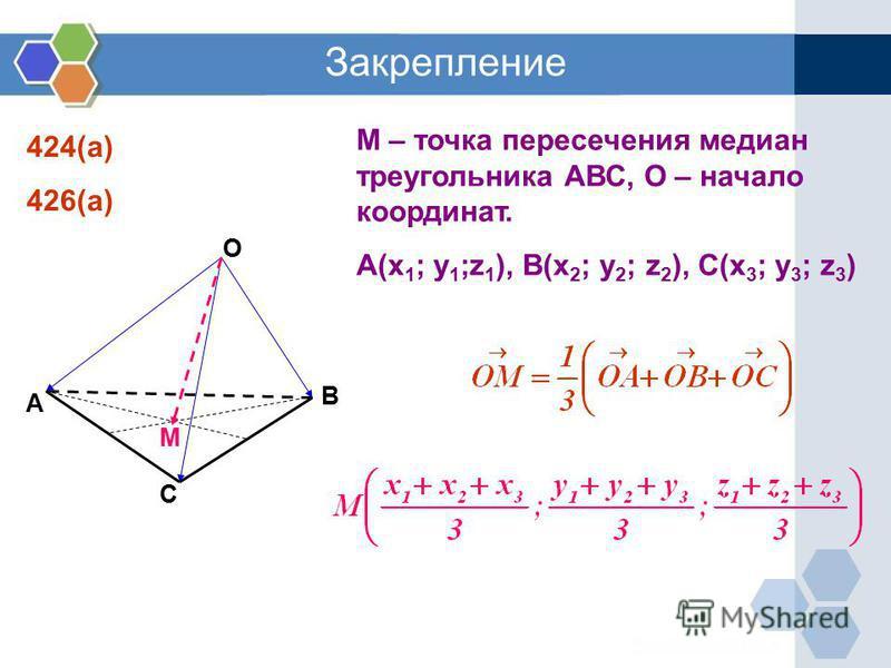 Закрепление 424(а) 426(а) М – точка пересечения медиан треугольника АВС, О – начало координат. А(x 1 ; y 1 ;z 1 ), B(x 2 ; y 2 ; z 2 ), C(x 3 ; y 3 ; z 3 ) O A B C M