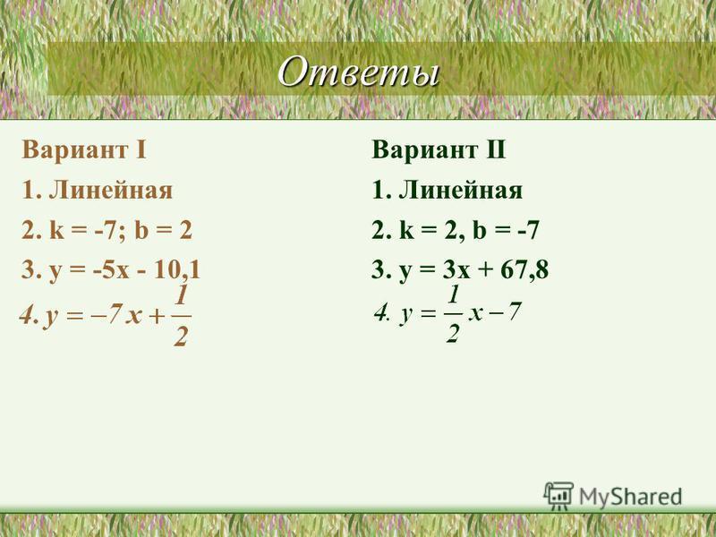Ответы Вариант I 1. Линейная 2. k = -7; b = 2 3. y = -5x - 10,1 Вариант II 1. Линейная 2. k = 2, b = -7 3. y = 3x + 67,8