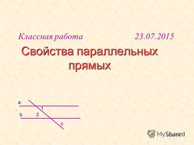 Свойства параллельных прямых Урок 34 b a 1 2 c Классная работа 23.07.2015