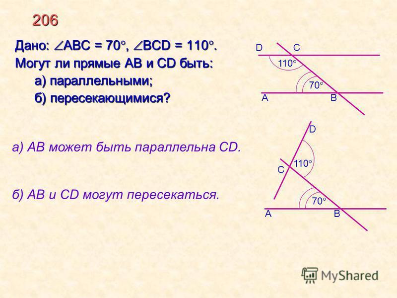 206 Дано: АВС = 70, BCD = 110. Могут ли прямые AB и CD быть: а) параллельными; б) пересекающимися? а) АВ может быть параллельна CD. б) АВ и СD могут пересекаться. А D 110 70 С В 110 70 D С АВ