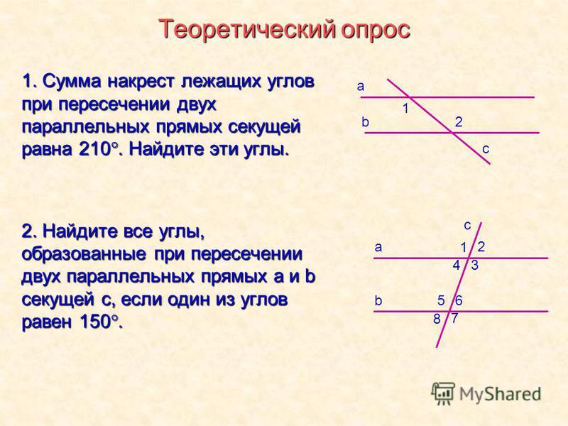 Теоретический опрос 1. Сумма накрест лежащих углов при пересечении двух параллельных прямых секущей равна 210. Найдите эти углы. 2. Найдите все углы, образованные при пересечении двух параллельных прямых a и b секущей с, если один из углов равен 150.