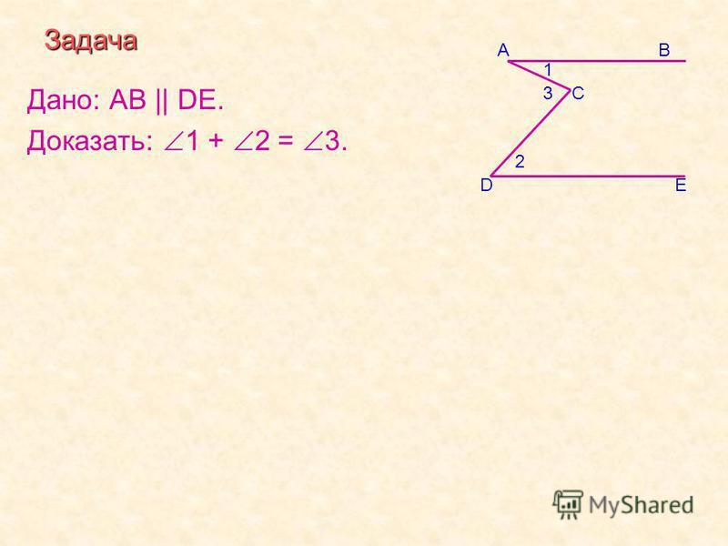 Задача Дано: АВ || DE. Доказать: 1 + 2 = 3. E С ВА 3 2 1 D