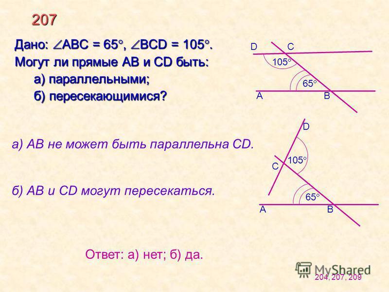 207 Дано: АВС = 65, BCD = 105. Могут ли прямые AB и CD быть: а) параллельными; б) пересекающимися? а) АВ не может быть параллельна CD. б) АВ и СD могут пересекаться. А D 105 65 С В 105 65 D С АВ Ответ: а) нет; б) да. 204, 207, 209