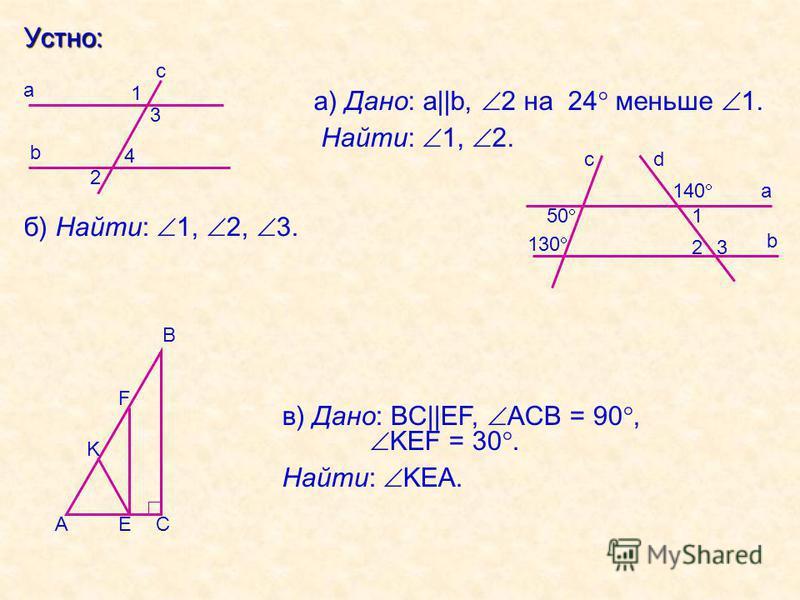 Устно: а) Дано: a||b, 2 на 24 меньше 1. Найти: 1, 2. б) Найти: 1, 2, 3. c b a 3 4 1 2 в) Дано: BC||EF, ACB = 90, KEF = 30. Найти: KEA. b a 1 2 c 3 d 50 130 140 ЕА B C F K