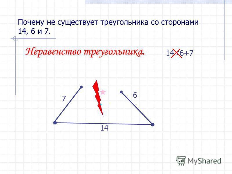Почему не существует треугольника со сторонами 14, 6 и 7. 14 6 7 14<6+7 Неравенство треугольника.
