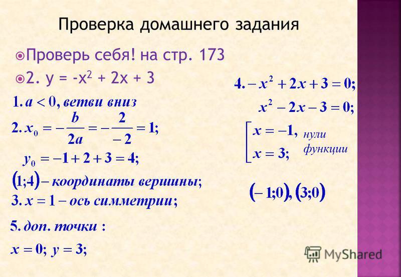 Проверь себя! на стр. 173 2. у = -х 2 + 2 х + 3 нули функции