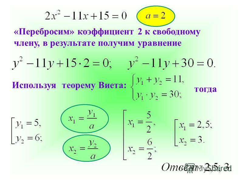 «Перебросим» коэффициент 2 к свободному члену, в результате получим уравнение Используя теорему Виета: тогда