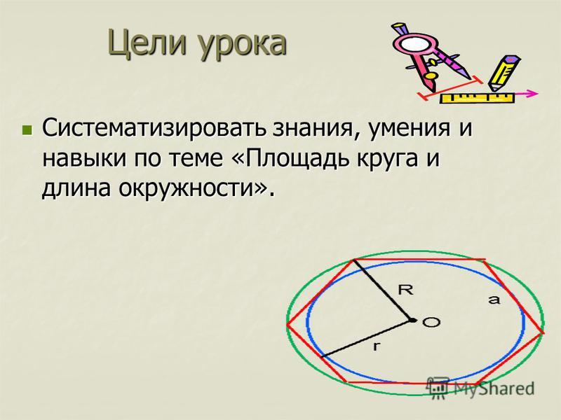 Систематизировать знания, умения и навыки по теме «Площадь круга и длина окружности». Систематизировать знания, умения и навыки по теме «Площадь круга и длина окружности». Цели урока