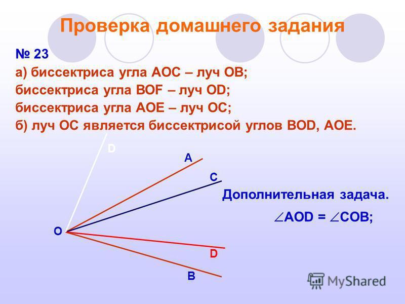 Проверка домашнего задания 23 а) биссектриса угла АОС – луч ОВ; биссектриса угла ВОF – луч ОD; биссектриса угла АОЕ – луч ОС; б) луч ОС является биссектрисой углов BOD, AOE. Дополнительная задача. D С В А О AOD = COB; D