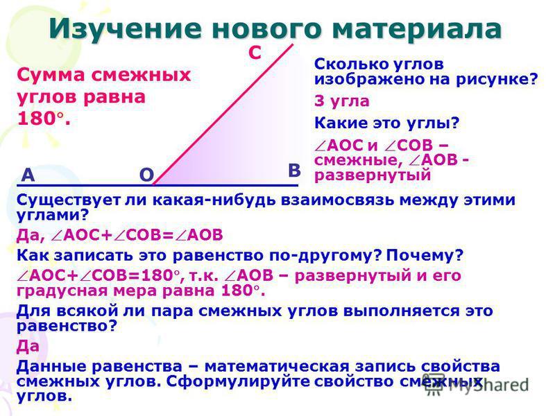 Изучение нового материала О А С В Сколько углов изображено на рисунке? 3 угла Какие это углы? АОС и СОВ – смежные, АОВ - развернутый Существует ли какая-нибудь взаимосвязь между этими углами? Да, АОС+СОВ=АОВ Как записать это равенство по-другому? Поч