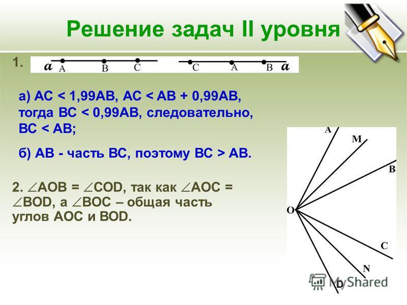 Решение задач II уровня 1. а) АС < 1,99АВ, АС < AB + 0,99AB, тогда ВС < 0,99АВ, следовательно, ВС < АВ; б) АВ - часть ВС, поэтому ВС > АВ. 2. АОВ = СОD, так как AOC = BOD, а BOC – общая часть углов АОС и ВОD. aa