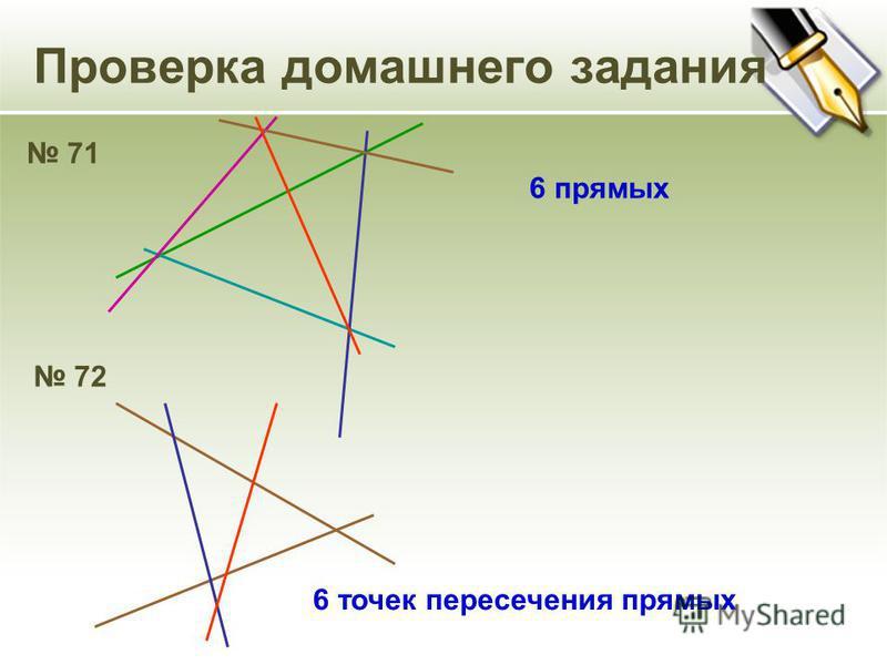 Проверка домашнего задания 71 6 прямых 72 6 точек пересечения прямых