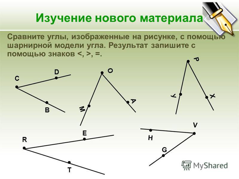 Изучение нового материала Сравните углы, изображенные на рисунке, с помощью шарнирной модели угла. Результат запишите с помощью знаков, =. В С D М О А У Р Х Т R Е H V G