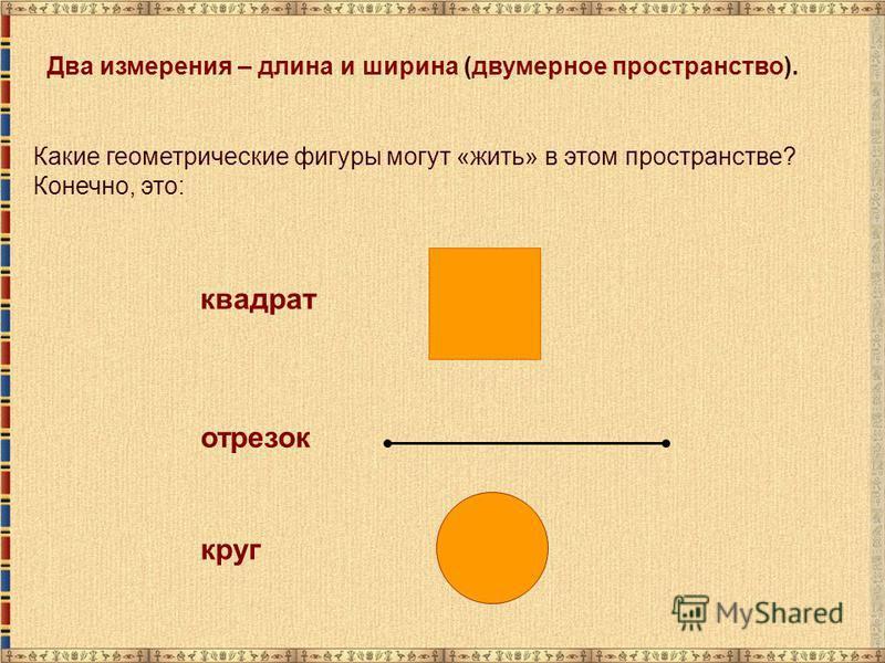 Какие геометрические фигуры могут «жить» в этом пространстве? Конечно, это: квадрат отрезок круг Два измерения – длина и ширина (двумерное пространство).