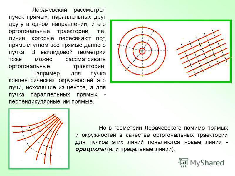 Лобачевский рассмотрел пучок прямых, параллельных друг другу в одном направлении, и его ортогональные траектории, т.е. линии, которые пересекают под прямым углом все прямые данного пучка. В евклидовой геометрии тоже можно рассматривать ортогональные