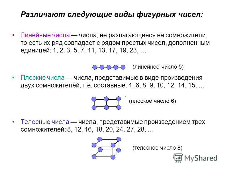 Различают следующие виды фигурных чисел: Линейные числа числа, не разлагающиеся на сомножители, то есть их ряд совпадает с рядом простых чисел, дополненным единицей: 1, 2, 3, 5, 7, 11, 13, 17, 19, 23, … Плоские числа числа, представимые в виде произв