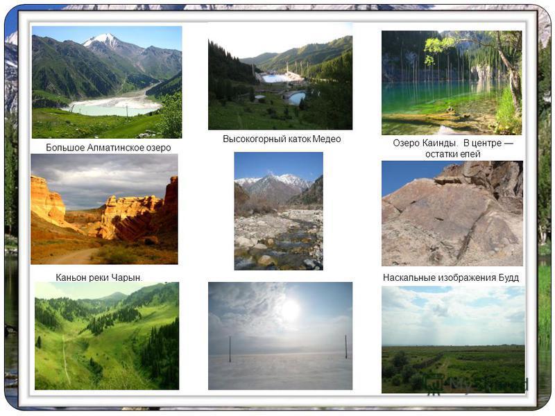 Большое Алматинское озеро Каньон реки Чарын. Озеро Каинды. В центре остатки елей Высокогорный каток Медео Наскальные изображения Будд