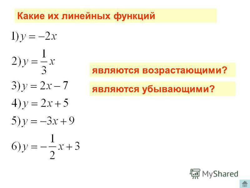 Примеры линейных функций Определите по графику, какая из функций взрастает и какая убывает а области определения. Сделайте вывод
