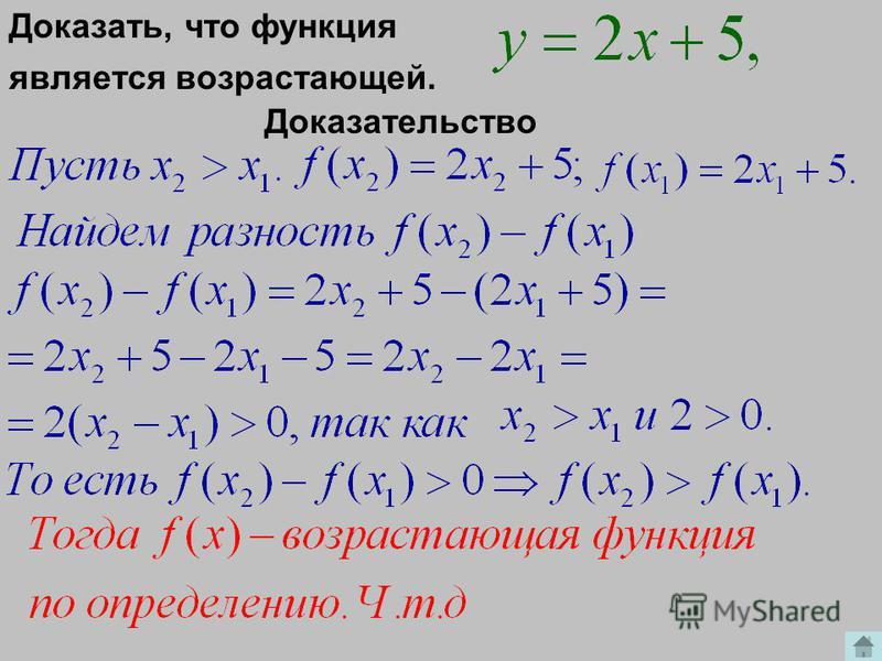 Определение возрастающей функции Функция называется возрастающей в некотором промежутке, если большему значению аргумента из этого промежутка соответствует большее значение функции или Должны выполняться условия:
