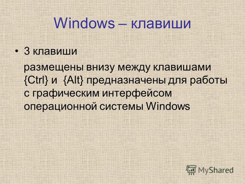 Windows – клавиши 3 клавиши размещены внизу между клавишами {Ctrl} и {Alt} предназначены для работы с графическим интерфейсом операционной системы Windows